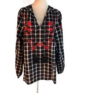 CROWN & IVY Women's XL Navy Check Embroidered